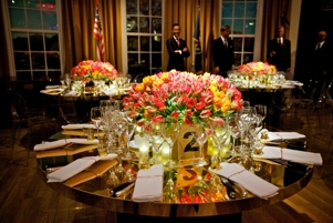 Table with wine glasses during event management